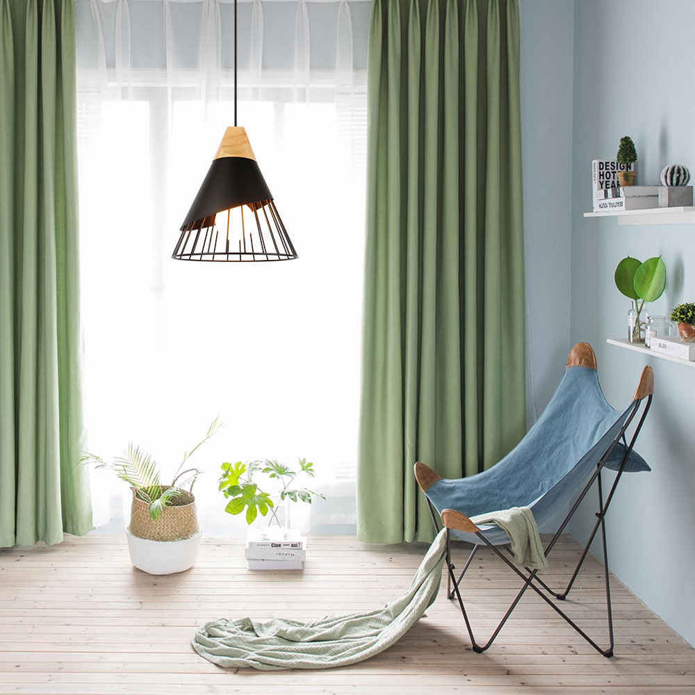 PHYVAL Pendant Lamp Modern E27 Pendant Lights Wood For Bedroom Hanging Lamp Nordic Aluminum Lampshade LED
