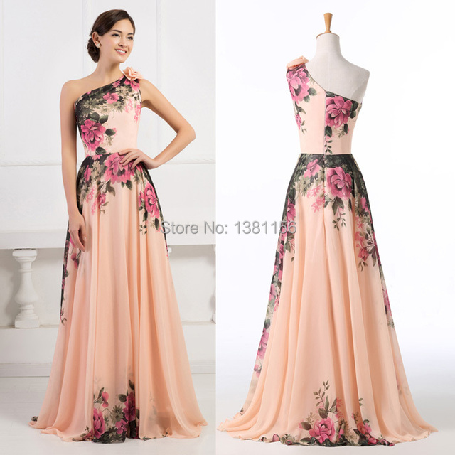 b7e2b09e23 Grace Karin One Shoulder Design Chiffon Flower Printed Evening Dress  Vintage Pattern Long Formal Prom Party Dress CL7504