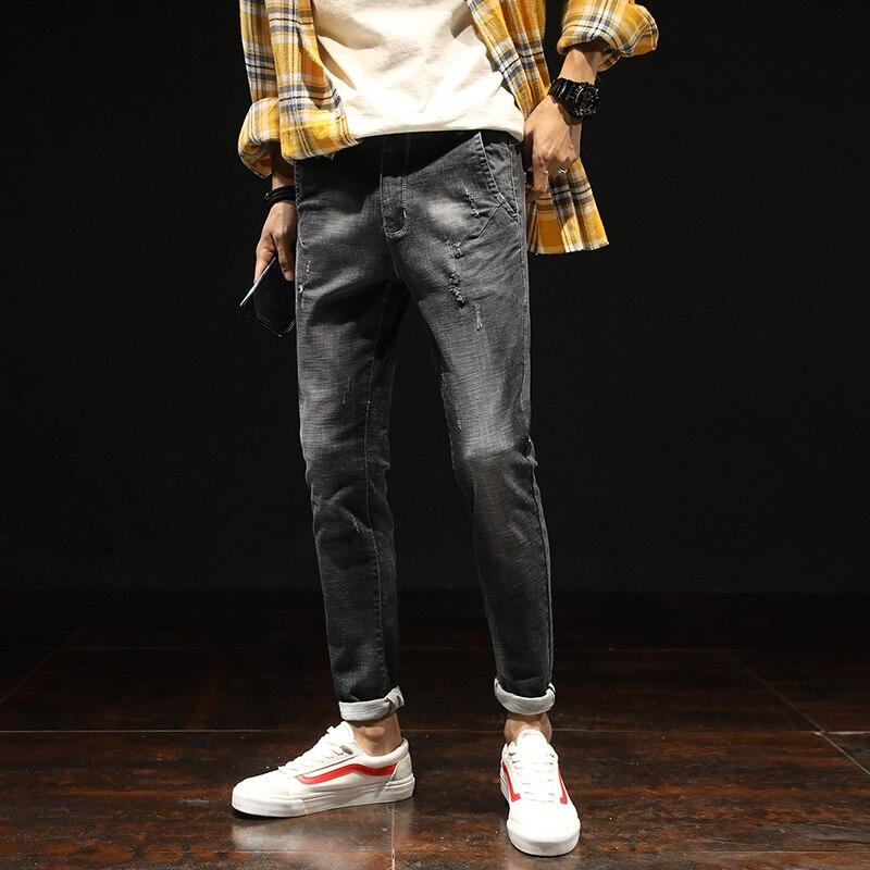 Mens Four Seasons Teenager Nine Jeans Male Fashion Stretch Ankle-Length Pants Men Casual Slim Cotton Denim Trousers