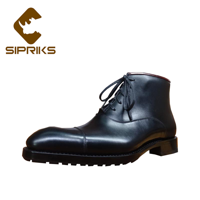 Sipriks Genuine Leather Black Dress Boots For Men Fashion Italian Bespoke  Goodyear Welted Boots Cap Toe Oxfords Boot Indian Work d3c1a02324c9