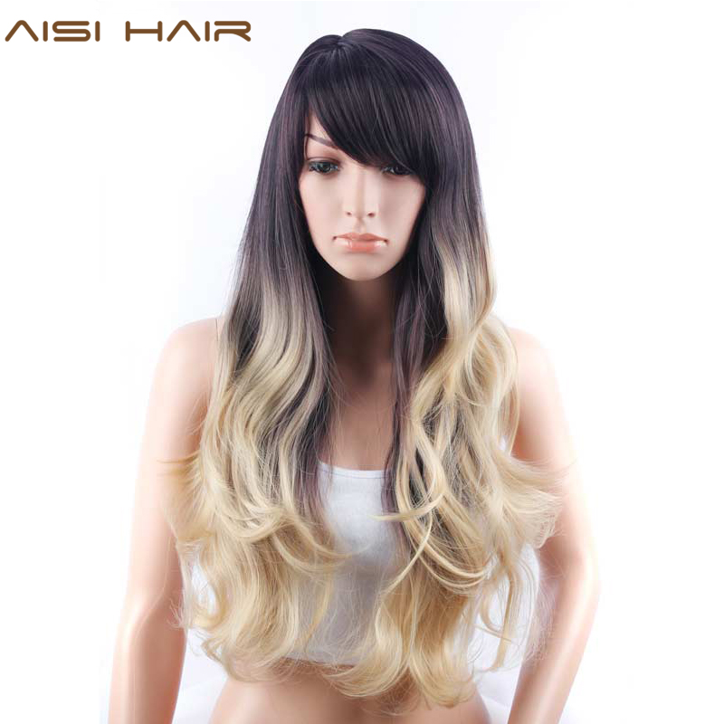 AISI HAIR Long Wavy Ombre Blonde Cosply Wig Synthetic Long Hair with Side Bangs Hairstyles