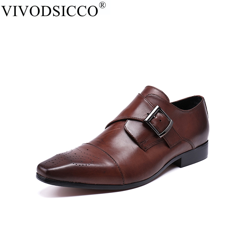 VIVODSICCO Fashion Italian Men Shoes Genuine Leather Mens Dress Shoes Sales Carved Designer Wedding Male Oxford Shoes Men Flats