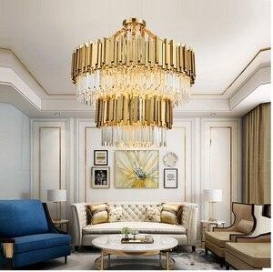 Image 3 - Lustre en cristal moderne de salon, lustre en cristal doré pour salle à manger lustre en cristal à petites lumières lustre en cristal à éclairage luxueux