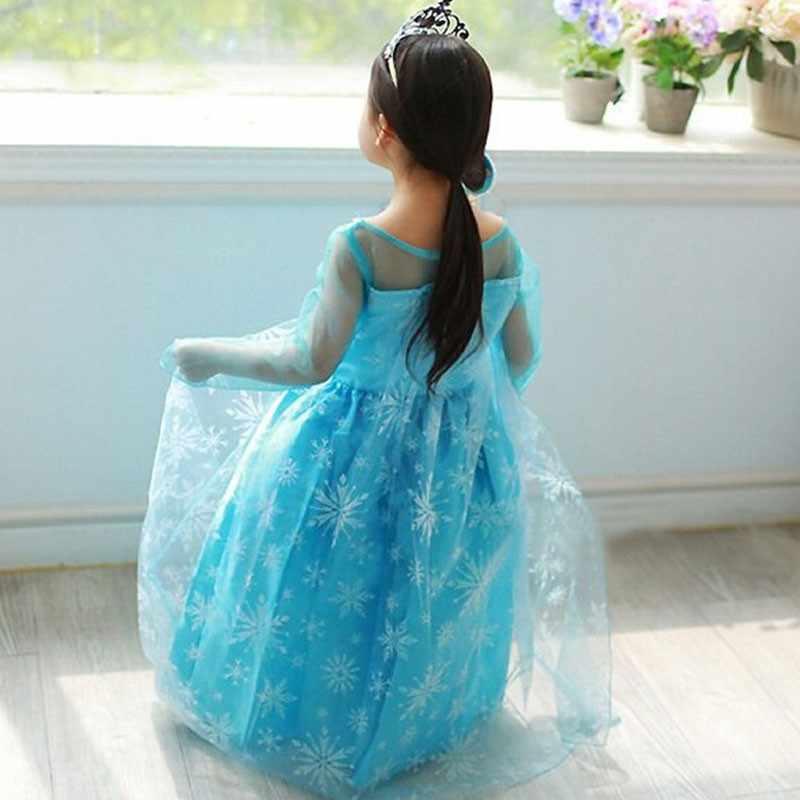 جديد فساتين الأميرة فتاة آنا إلسا تأثيري حلي ملابس الأطفال فستان حفلة للأطفال ملابس الفتيات