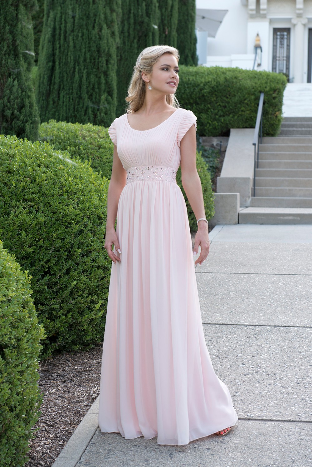 Online buy wholesale modest bridesmaid dresses with long sleeves 2017 light pink long modest bridesmaid dresses with cap sleeves beaded ruched scoop neck formal wedding ombrellifo Choice Image