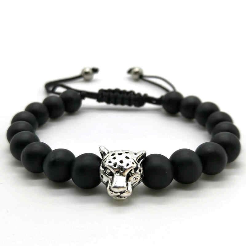 Classic Men Bracelet Antique Silver And Gold Leopard Head Bracelet Black Matte Frosted Bead Bracelets For Unisex Jewelry Gift