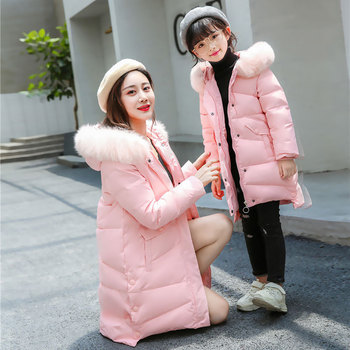 Winter New  Parent-child  Wear Girls Korean Version of The Long Range of Warm Children's Clothing Children's Fashion Down Jacket
