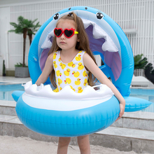 0-3 Years Old Baby Inflatable Shark Pool Float with Sunshade Flamingo Ride-On  Swimming Ring Safe Seat Water Toys Infant Circle 0 3 years old baby inflatable flamingo swan pool float with sunshade ride on swimming ring safe seat water toys infant circle