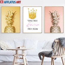 Golden Pineapple Crown Quotes Wall Art Canvas Painting Posters And Prints Nordic Poster Wall Pictures For Living Room Home Decor wall art canvas painting 3d flower picture posters and prints golden flowers poster wall pictures for living room home decor