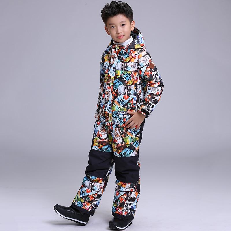 2018 Boys Ski Suit Snowboard Jacket Pant Thermal Winter Clothing Waterproof Windproof Sport Wear Skiing Riding Kids Children Set fl ski gloves snowboard