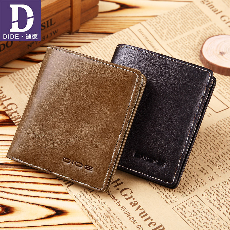 DIDE Genuine Leather Wallets Male Mini Wallet Women Credit Card Holder Short Zipper Coin Purse Vintage Wallet Men Brand 730 недорго, оригинальная цена