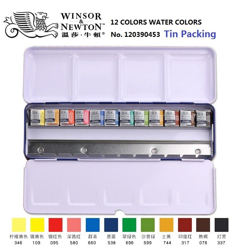 WINSOR & NEWTON Cotman 12/24 couleurs solide aquarelle peinture métal boîte d'emballage