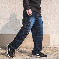 Mens Jeans Plus Size 30 46 Denim Cargo Pants Men S Straight Jean Pants Casual Relax