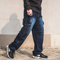 Mens Dei Jeans Più Il Formato 30-46 Denim Cargo Pantaloni da Uomo Etero Jean Pantaloni Casual Relax Loose Fit Jeans pantaloni Pantaloni