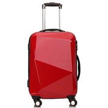 KUNDUI Hombre Mujeres superficie de corte de Diamante Bolsas Ruedas Spinner Trolley ABS + PC Equipaje Rodante de maletas Maletas De Viaje de Embarque