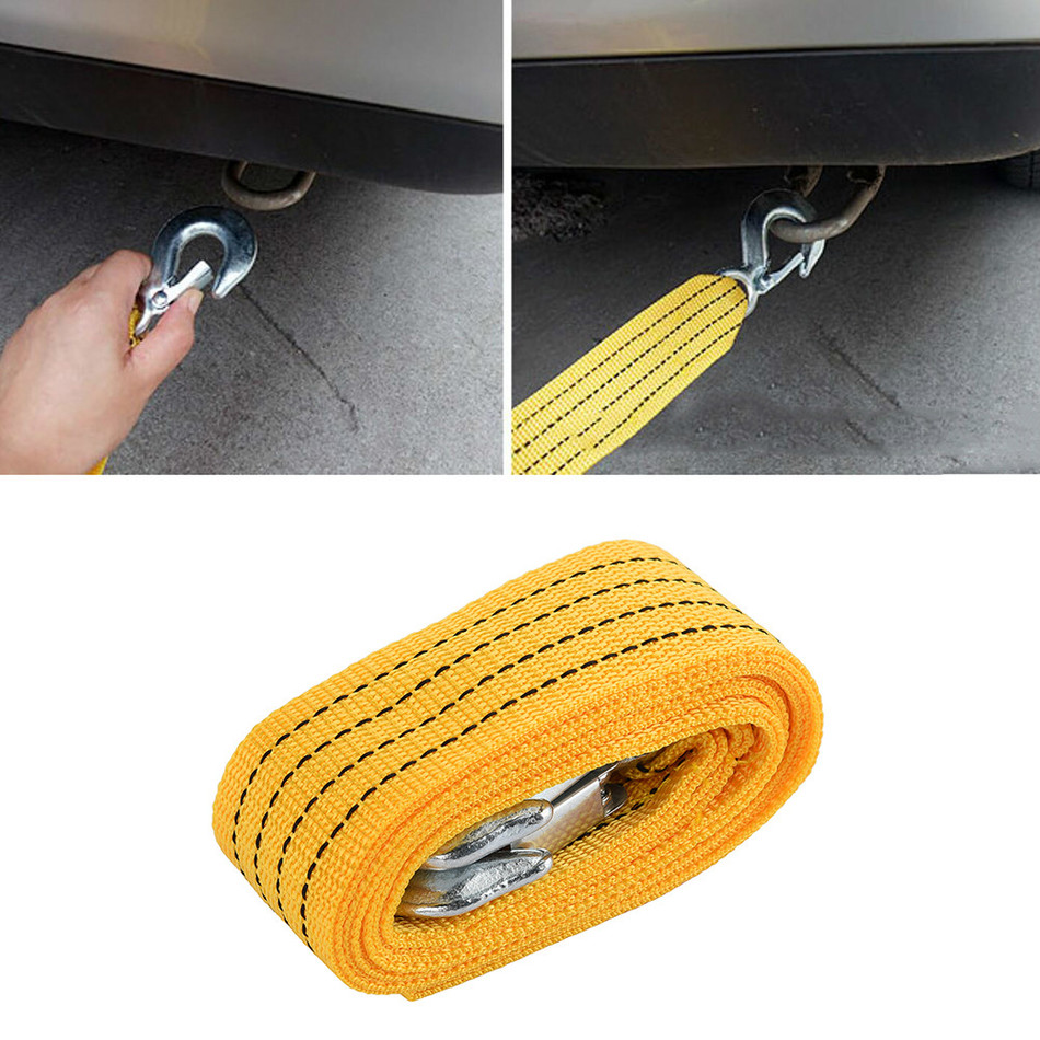Car Tow Cable Heavy Duty Towing Pull Rope 4M 5 Ton Strap Hooks Van Road Recovery Drop Shipping