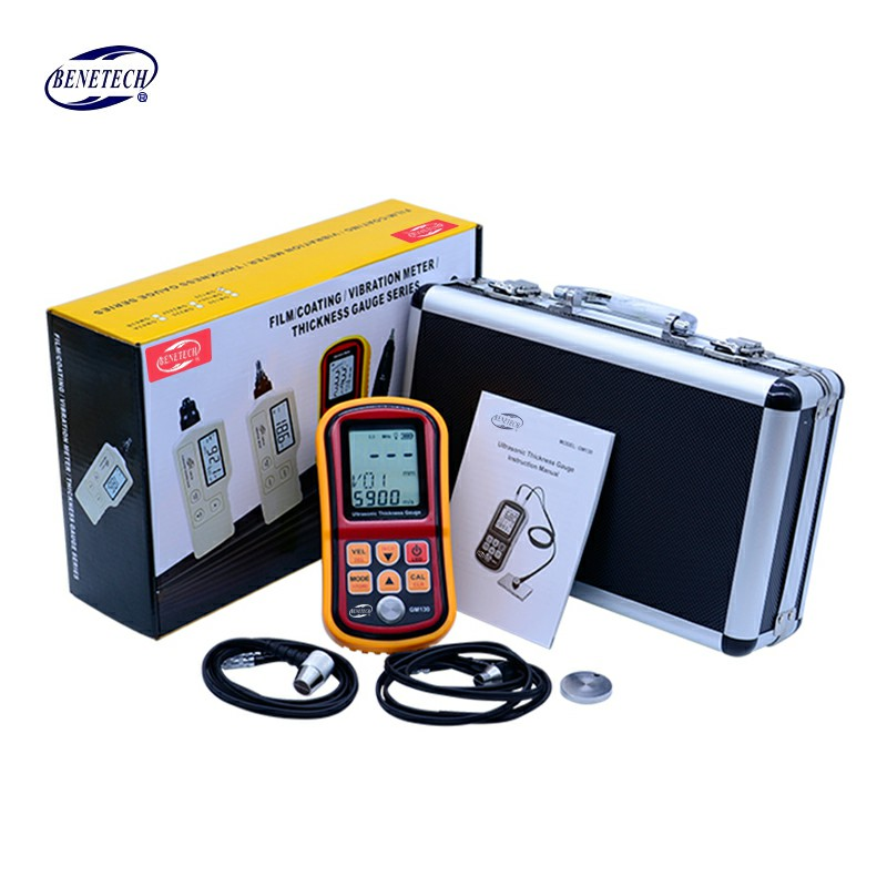 GM130 Digital Ultrasonic Thickness Gauge tester steel thickness tester 1.0 to 300MM Sound Velocity Meter with Carry Box gm130 ultrasonic thickness gauge 1 0 300mm metal width monitor tester digital ultrasonic gauge steel 0 01mm precision dual probe