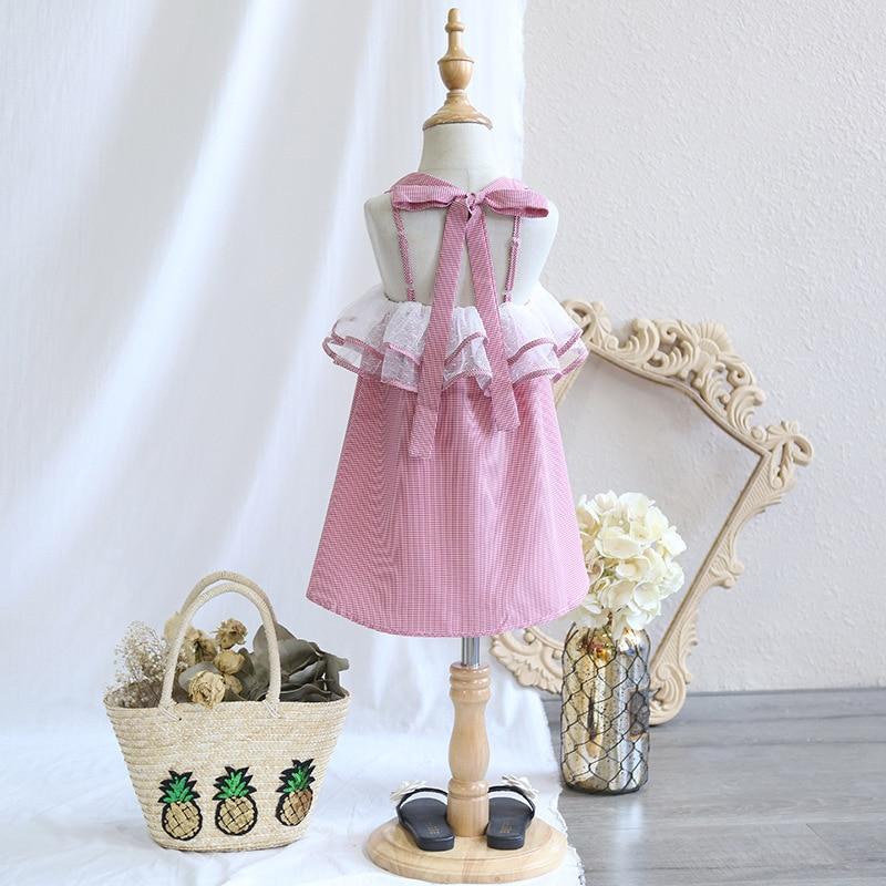Childrens clothing 2018 Summer New Girls Sweet Leak back Bow Princess Dress Sleeveless Strap Dress Thin