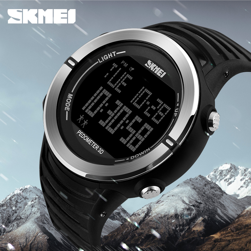 Pedometer Sport Watch Men Skmei Brand 50m Waterproof Led Digital Chrono Calories Alarm Outdoor Military Wristwatches Watches Digital Watches