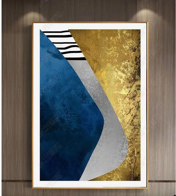 High Quality Abstract Blue Gold Painting Geometry European Style Canvas Art Wall Picture For Living Room