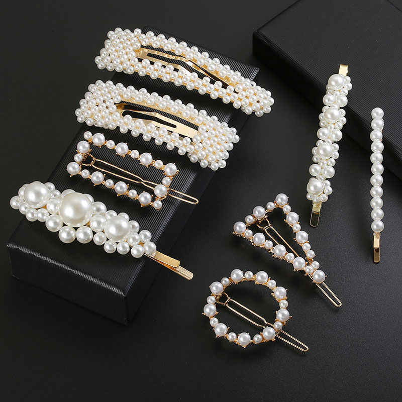 Fashion Women Korean Pearl Imitation Beads Hair Metal Barrette Stick Hairpin Hair Jewelry Accessories handmade For Girls