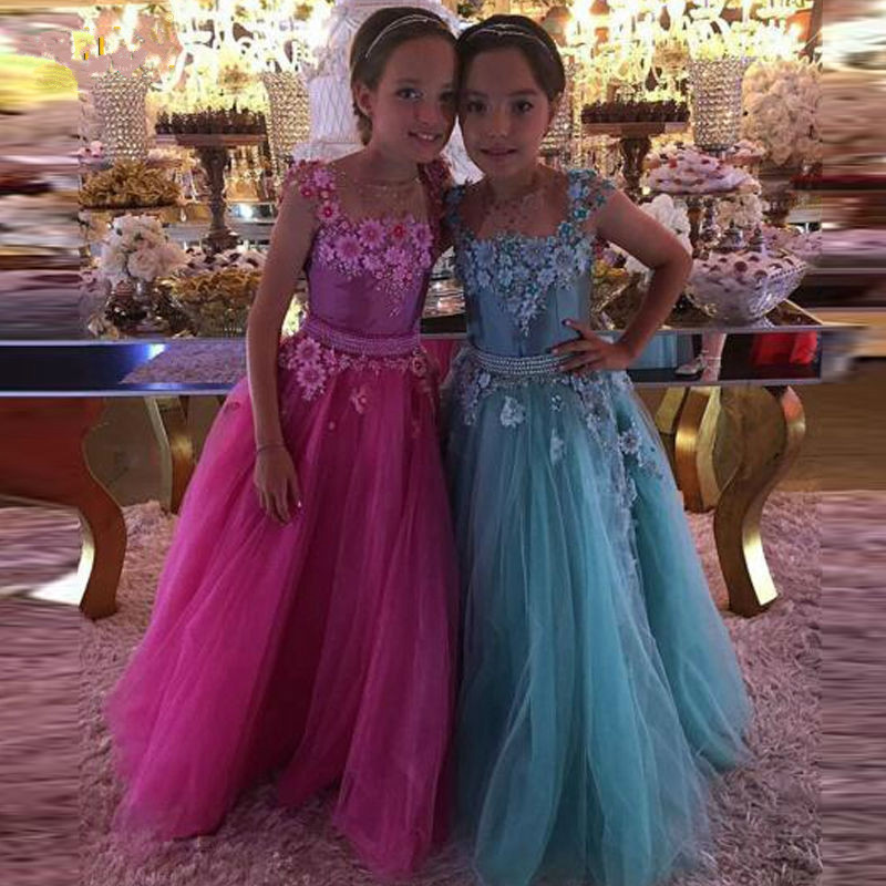 New Flower Girls Dresses Ball Gown Tulle with Beaded Sash Little Princess Birthday Party Dress Pageant Gown 2017 Custom lovely new puffy flower girl dresses beaded overskirts floor length first communion dress pageant birthday gown 2017 custom new