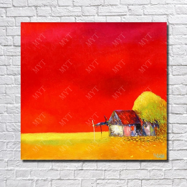 Red Background Hand Painted House Oil Painting Large Canvas Art