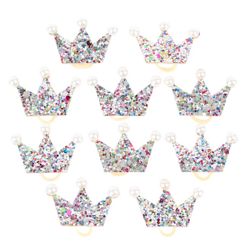 10 20pcs Glittering Silver Crown Shape Dog Bows Hair Accessories with Rubber Band For Long Hair