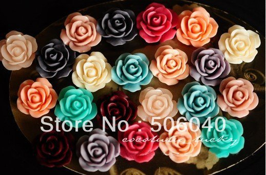 18mm  vintage resin ROSE resin FLOWERS beads flat back Accessories jewelry decoration wholesale 100pcs/lot
