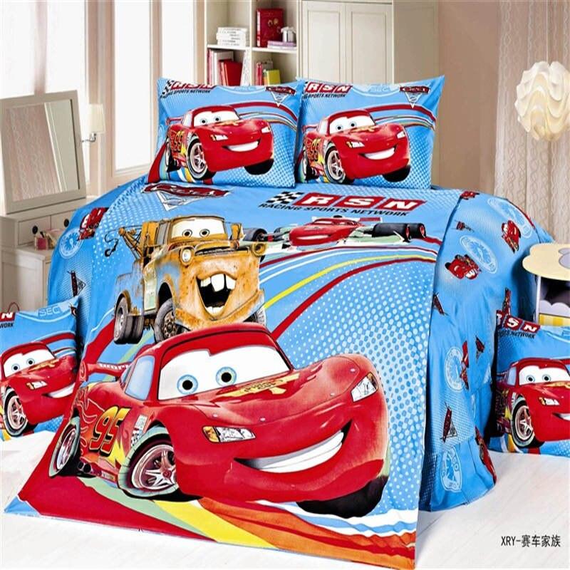 100% coton disney couette ensemble de literie unique double taille 95 mcqueen cars housse de couette football Mickey plat lit drap taie d'oreiller