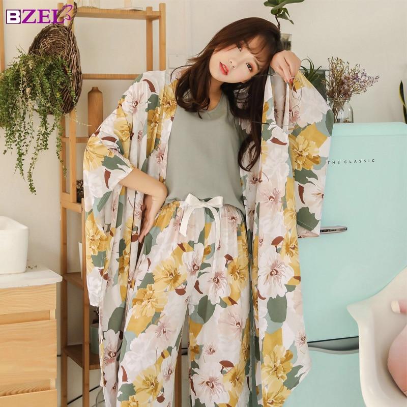 Spring Autumn Women Pyjamas Clothing 4 Piece Sets Female Pajamas Sets NightSuit Sleepwear Set Leisure Flower Pijamas Home Wear