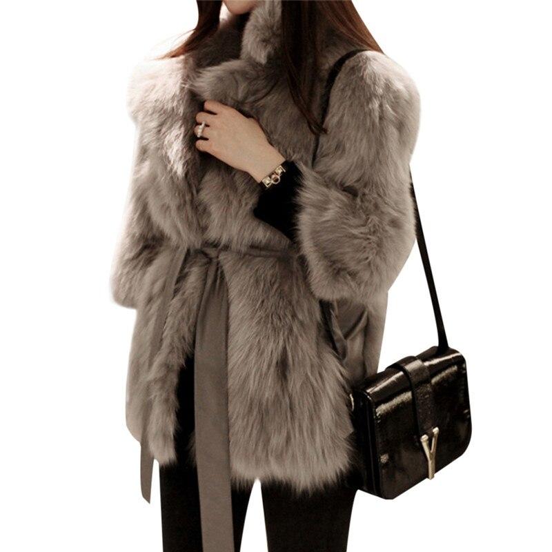 Dynamisch Dicke Warme Frauen Luxus Nerz Mäntel Flauschigen Faux Pelz Jacke Gefälschte Kaninchen Fell Mantel Manteau Femme Fourrure Plus Größe 2018 Winter Hohe Belastbarkeit Kunstpelz