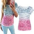 2016 Novo de Alta Qualidade gradiente Simples T da Camisa das Mulheres T de Algodão Liso T-shirt de manga curta Feminina Encabeça a camisa de t feminina