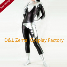 Free Shipping DHL Women X-men Aurora Fit Comfy Black And Silver Superhero Shiny Metallic Catsuits Party Cosplay Costume SHZ1402