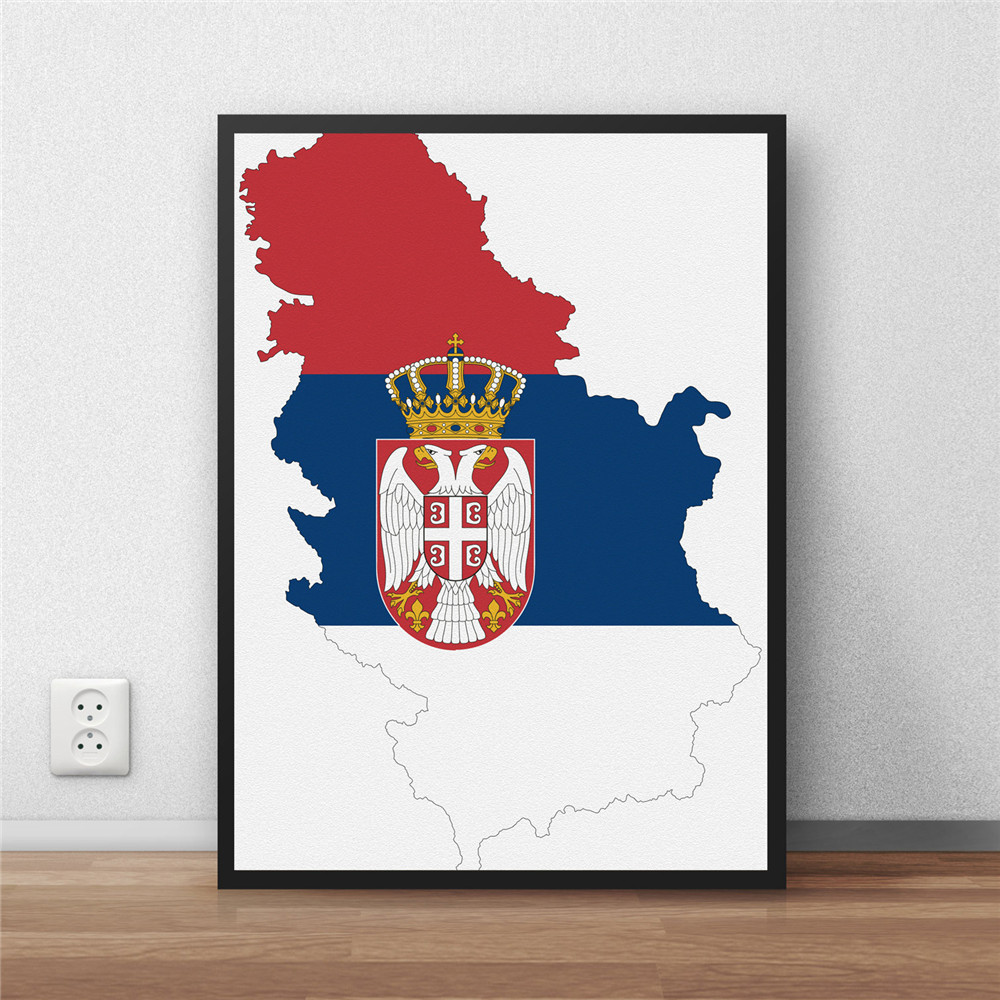 serbia Flag Home decoration Painting Modern Coated poster library country World Map cafe Restaurant wall art sticker no frame