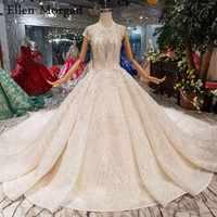 Elegante Spitze Ballkleider Hochzeit Kleider 2019 Perlen Korsett Boot Neck Cap Sleeves Glitter Backless Luxus Brautkleider für Frauen