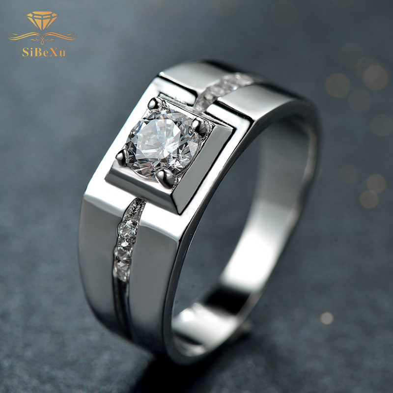 Classic 925 Silver Ring Zircon Men Engagement Rings For Men Silver Color Wedding Rings Male Austrian Crystals Jewelry