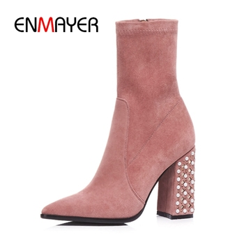 ENMAYER Women Boots women pointed toe ankle boots solid female high heel boots botas mujer Big size 34- 39 ZYL981