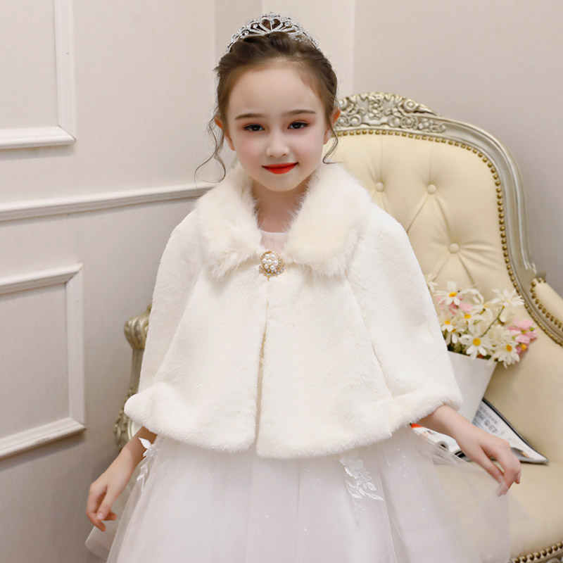 02641e9a63 Fashion Flower Girl Wedding Faux Fur Wrap Princess Cape Outerwear Children  Pageant Prom Cover Up Autum