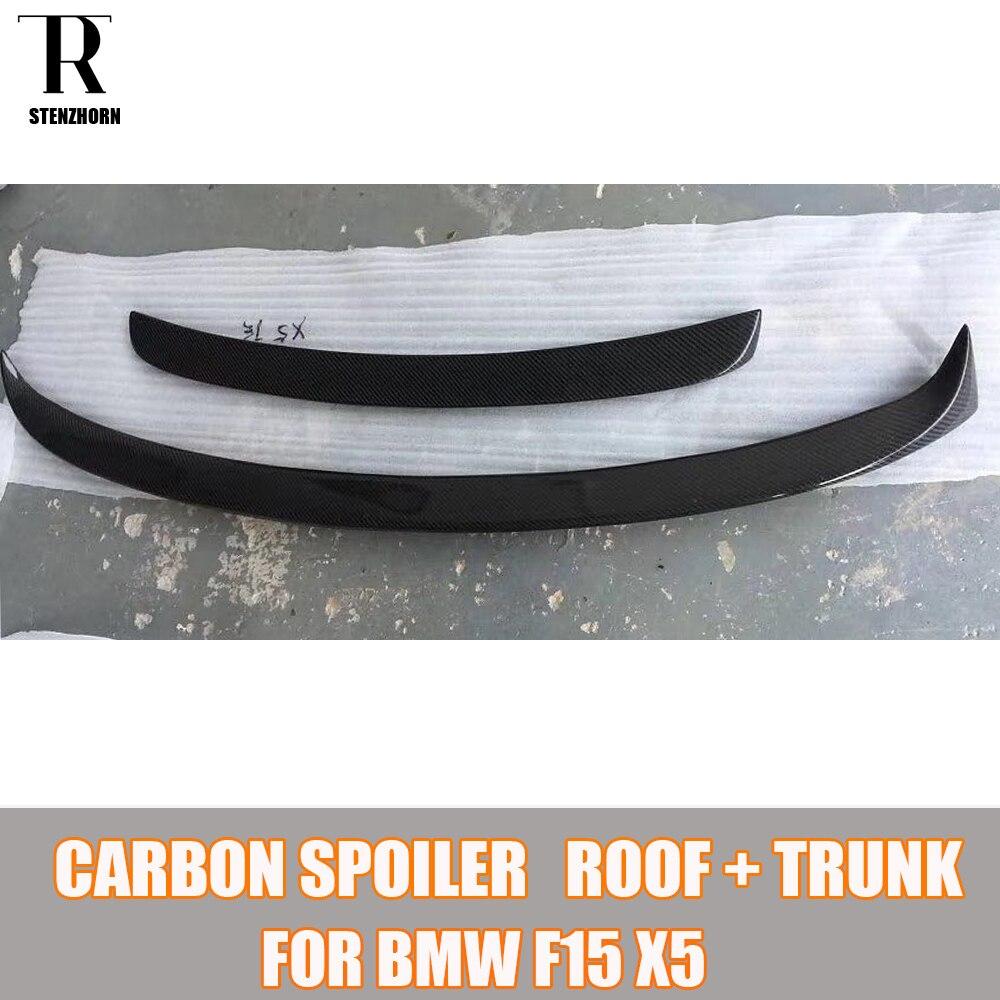 F15 X5 En Fiber De Carbone Arrière Aile Aileron pour BMW F15 X5 2015 2016 2017 Auto Racing Car Styling Tail Boot lip Wing