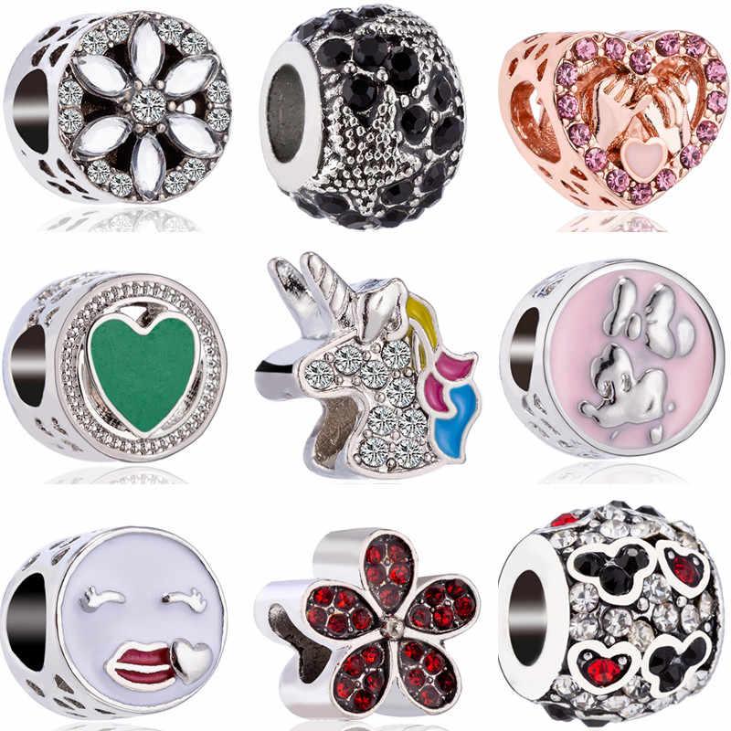 Basit Stil Moda Çiçek Unicorn Minnie Aşk Kalp Charms Boncuk Fit Pandora Bilezikler için Kadın Kız DIY Takı Bijoux Hediye