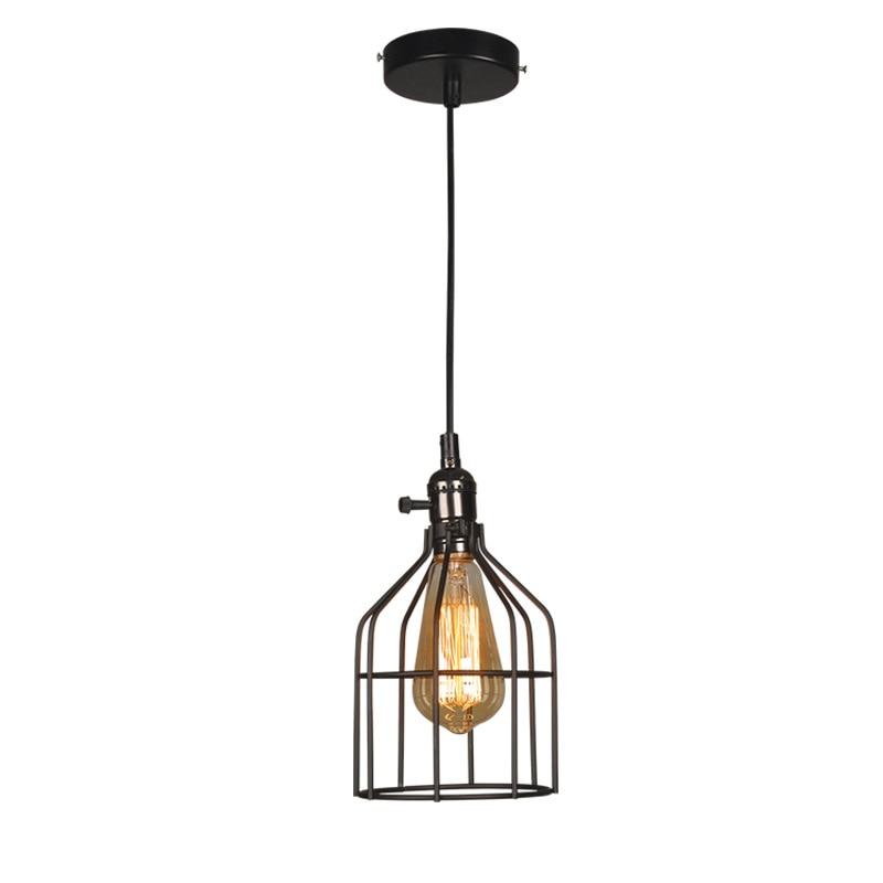 Retro Iron Birdcage Pendant Light Black Vintage E27 Industrial Wind Pendant Lamp for Loft Dining Room Restaurant Bar Counter