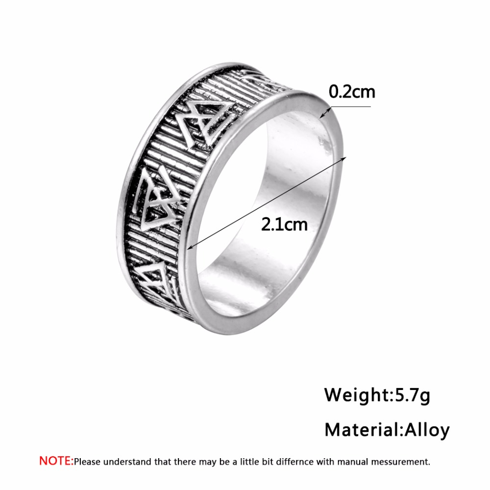 QIMING Mens Stainless Steel Valknut Ring Vikings Symbol Ring Handmade Norse Jewelry Odin Symbol Norse Viking Jewelry Size Rings