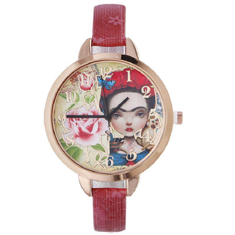 Gnova Platinum Fashion Women Watch Frida Girl Roses Monkey Blue Butterfly Quartz Wristwatch Vintage Geneva Style A811 gnova platinum women watch casual dress wristwatch blue jeans bike pu leather reloj lady bicecly fashion geneva style a926
