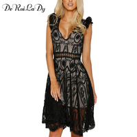 DeRuiLaDy Women Sexy Hollow Out Black White Lace Dress Women Summer Deep V Neck Sleeveless Backless