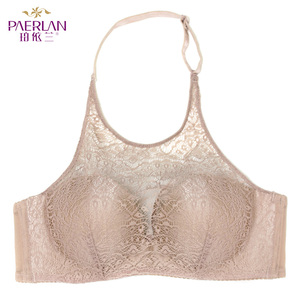 Image 5 - PAERLAN Hanging neck without straps invisible underwear gathered non slip beauty back sexy lace no steel ring bra chest Halter