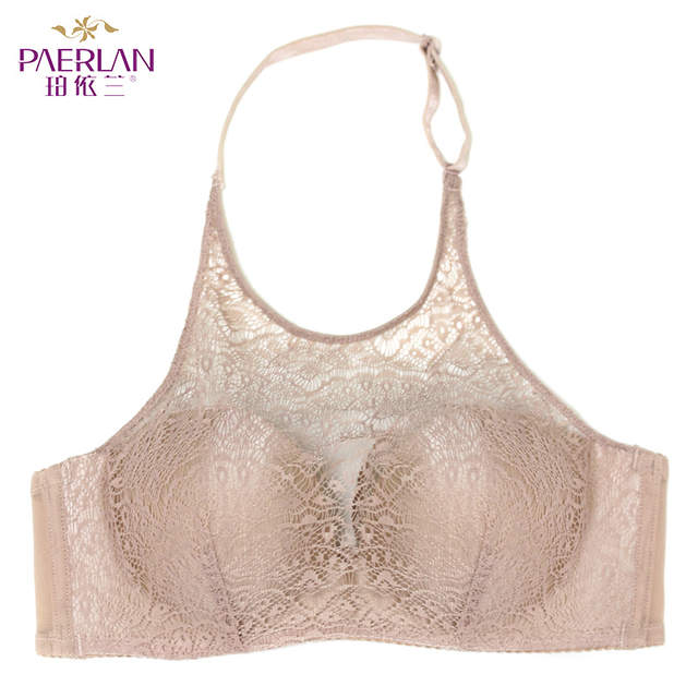 3c50df8224b23 PAERLAN Hanging neck without straps invisible underwear gathered non-slip  beauty back sexy lace no