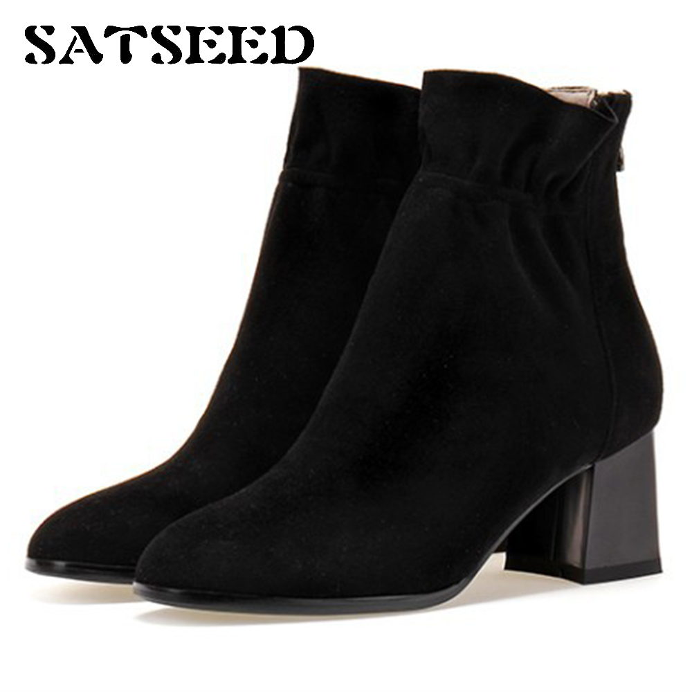 Shoes 2018 Genuine Leather High Heel Boots Zipper Ladies Leather Shoes Womens Pointed Toe Dress Shoes Ankle Boots Black Fashion