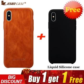 Étui pour iPhone X en cuir Jisoncase housse en cuir véritable de luxe mince Anti-retour pour iPhone X Capa acheter un obtenir deux
