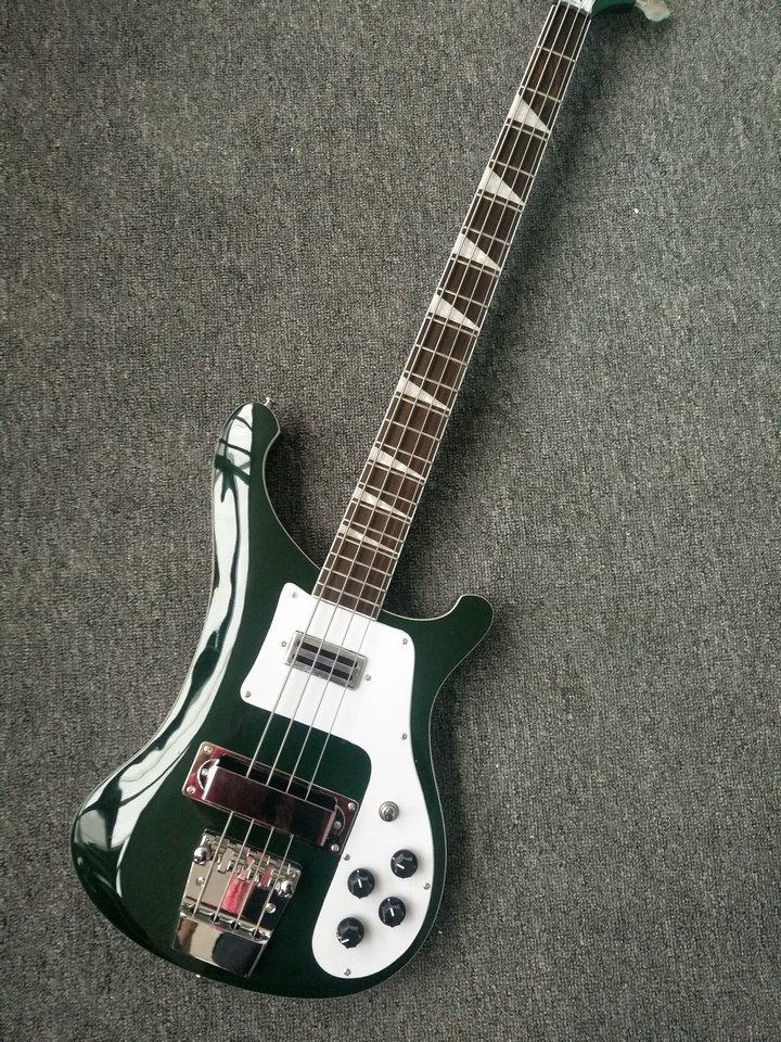 Custom shop Rickenback dark green color 4003 electric bass guitar 4 strings bass
